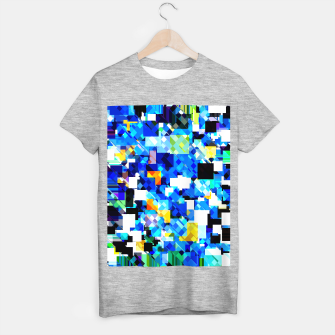 Thumbnail image of geometric square pixel pattern abstract in blue brown T-shirt regular, Live Heroes