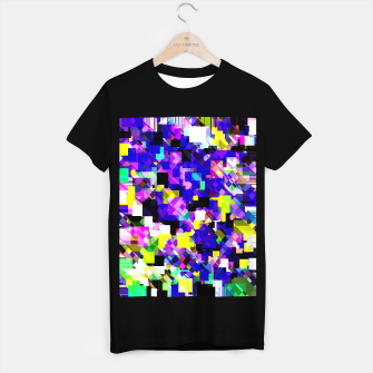 Thumbnail image of geometric square pixel pattern abstract in blue yellow pink T-shirt regular, Live Heroes