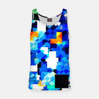Thumbnail image of geometric square pixel pattern abstract in blue brown Tank Top, Live Heroes