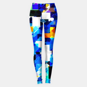 Thumbnail image of geometric square pixel pattern abstract in blue brown Leggings, Live Heroes
