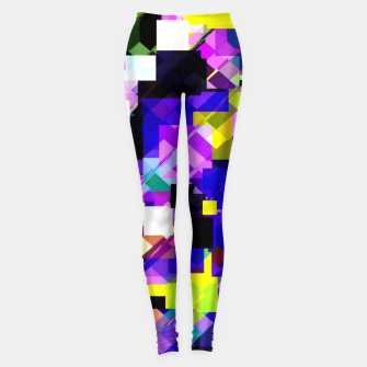 Thumbnail image of geometric square pixel pattern abstract in blue yellow pink Leggings, Live Heroes