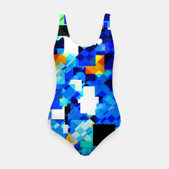 Thumbnail image of geometric square pixel pattern abstract in blue brown Swimsuit, Live Heroes
