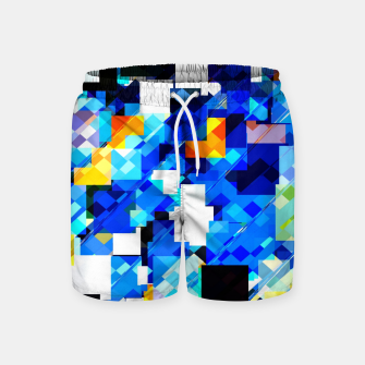 Thumbnail image of geometric square pixel pattern abstract in blue brown Swim Shorts, Live Heroes