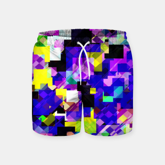 Thumbnail image of geometric square pixel pattern abstract in blue yellow pink Swim Shorts, Live Heroes
