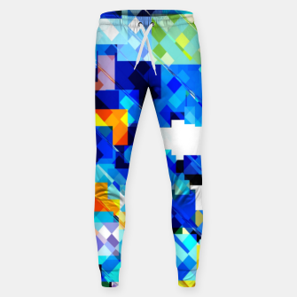 Thumbnail image of geometric square pixel pattern abstract in blue brown Sweatpants, Live Heroes