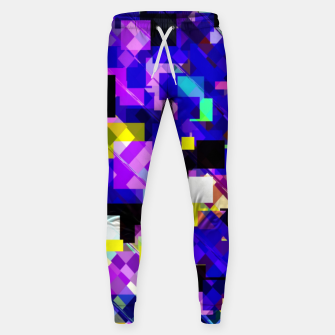 Thumbnail image of geometric square pixel pattern abstract in blue yellow pink Sweatpants, Live Heroes
