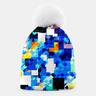 Thumbnail image of geometric square pixel pattern abstract in blue brown Beanie, Live Heroes
