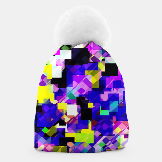 Thumbnail image of geometric square pixel pattern abstract in blue yellow pink Beanie, Live Heroes