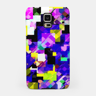 Thumbnail image of geometric square pixel pattern abstract in blue yellow pink Samsung Case, Live Heroes