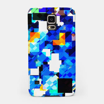 Thumbnail image of geometric square pixel pattern abstract in blue brown Samsung Case, Live Heroes