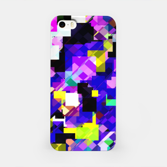 Thumbnail image of geometric square pixel pattern abstract in blue yellow pink iPhone Case, Live Heroes
