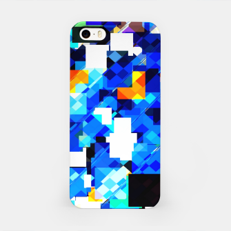 Thumbnail image of geometric square pixel pattern abstract in blue brown iPhone Case, Live Heroes