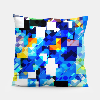 Thumbnail image of geometric square pixel pattern abstract in blue brown Pillow, Live Heroes