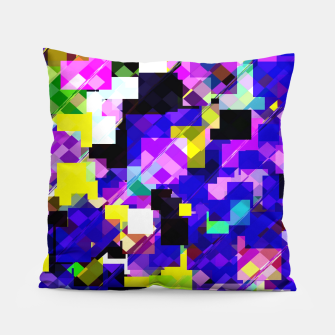 Thumbnail image of geometric square pixel pattern abstract in blue yellow pink Pillow, Live Heroes