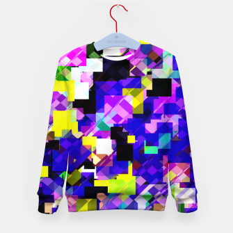 Thumbnail image of geometric square pixel pattern abstract in blue yellow pink Kid's sweater, Live Heroes