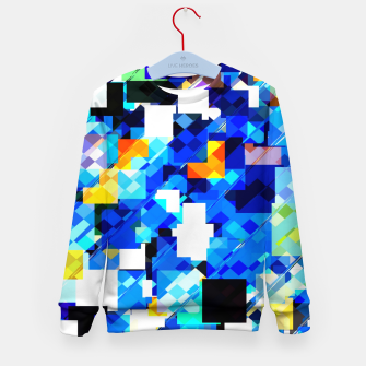 Thumbnail image of geometric square pixel pattern abstract in blue brown Kid's sweater, Live Heroes