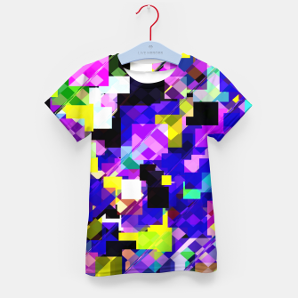 Thumbnail image of geometric square pixel pattern abstract in blue yellow pink Kid's t-shirt, Live Heroes
