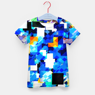Thumbnail image of geometric square pixel pattern abstract in blue brown Kid's t-shirt, Live Heroes