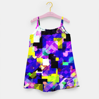 Thumbnail image of geometric square pixel pattern abstract in blue yellow pink Girl's dress, Live Heroes
