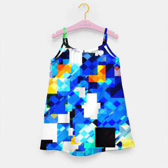 Thumbnail image of geometric square pixel pattern abstract in blue brown Girl's dress, Live Heroes
