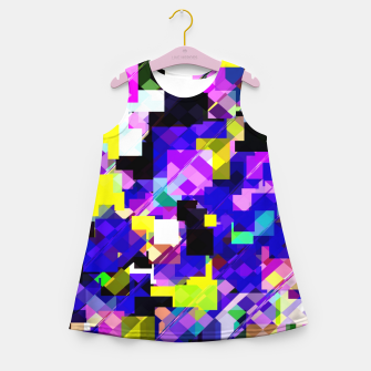Thumbnail image of geometric square pixel pattern abstract in blue yellow pink Girl's summer dress, Live Heroes