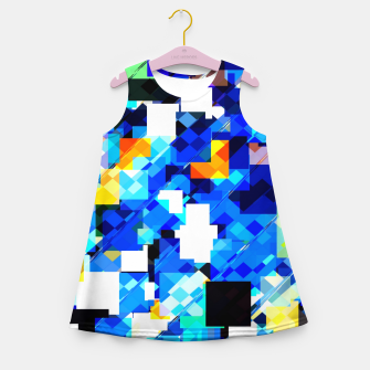 Thumbnail image of geometric square pixel pattern abstract in blue brown Girl's summer dress, Live Heroes