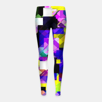 Thumbnail image of geometric square pixel pattern abstract in blue yellow pink Girl's leggings, Live Heroes