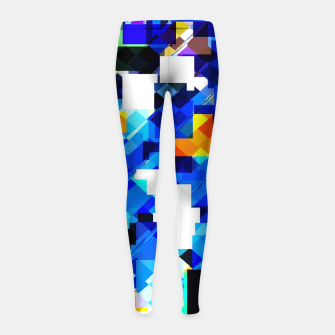 Thumbnail image of geometric square pixel pattern abstract in blue brown Girl's leggings, Live Heroes