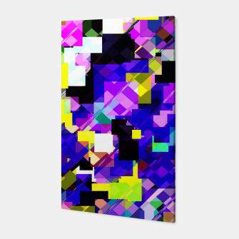 Thumbnail image of geometric square pixel pattern abstract in blue yellow pink Canvas, Live Heroes
