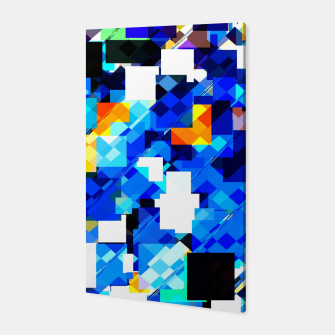 Thumbnail image of geometric square pixel pattern abstract in blue brown Canvas, Live Heroes