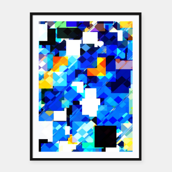 Thumbnail image of geometric square pixel pattern abstract in blue brown Framed poster, Live Heroes