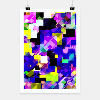 Thumbnail image of geometric square pixel pattern abstract in blue yellow pink Poster, Live Heroes