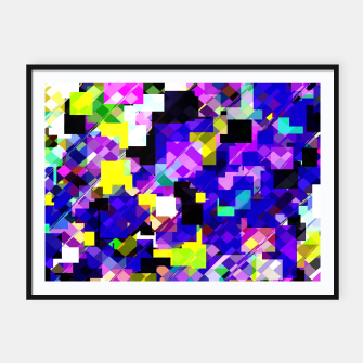 Thumbnail image of geometric square pixel pattern abstract in blue yellow pink Framed poster, Live Heroes
