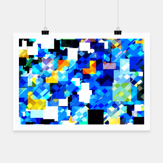 Thumbnail image of geometric square pixel pattern abstract in blue brown Poster, Live Heroes
