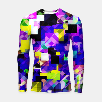 Thumbnail image of geometric square pixel pattern abstract in blue yellow pink Longsleeve rashguard , Live Heroes