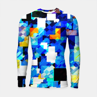 Thumbnail image of geometric square pixel pattern abstract in blue brown Longsleeve rashguard , Live Heroes