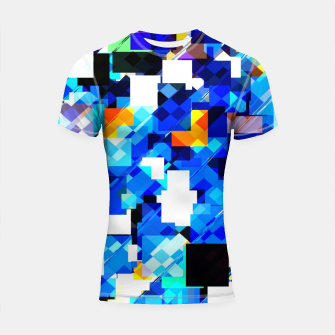 Thumbnail image of geometric square pixel pattern abstract in blue brown Shortsleeve rashguard, Live Heroes
