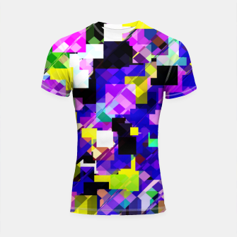 Thumbnail image of geometric square pixel pattern abstract in blue yellow pink Shortsleeve rashguard, Live Heroes