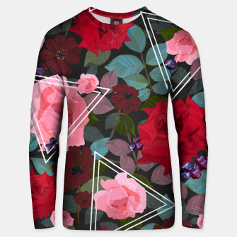 Thumbnail image of Triangles with vintage red pink roses and chocalate cosmos flower pattern Unisex sweater, Live Heroes