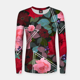 Thumbnail image of Triangles with vintage red pink roses and chocalate cosmos flower pattern Women sweater, Live Heroes