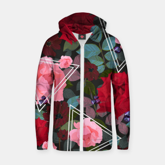 Thumbnail image of Triangles with vintage red pink roses and chocalate cosmos flower pattern Zip up hoodie, Live Heroes