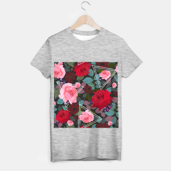 Miniature de image de Triangles with vintage red pink roses and chocalate cosmos flower pattern T-shirt regular, Live Heroes