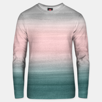 Thumbnail image of Touching Teal Blush Gray Watercolor Abstract #1 #painting #decor #art  Unisex sweatshirt, Live Heroes