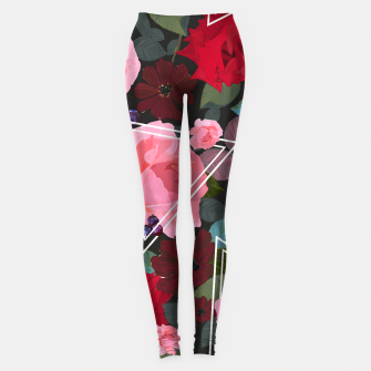 Thumbnail image of Triangles with vintage red pink roses and chocalate cosmos flower pattern Leggings, Live Heroes