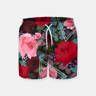 Thumbnail image of Triangles with vintage red pink roses and chocalate cosmos flower pattern Swim Shorts, Live Heroes