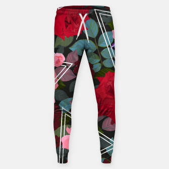 Thumbnail image of Triangles with vintage red pink roses and chocalate cosmos flower pattern Sweatpants, Live Heroes