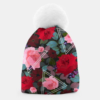 Thumbnail image of Triangles with vintage red pink roses and chocalate cosmos flower pattern Beanie, Live Heroes