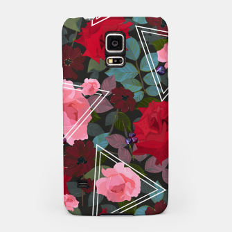 Thumbnail image of Triangles with vintage red pink roses and chocalate cosmos flower pattern Samsung Case, Live Heroes