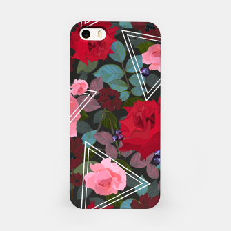 Thumbnail image of Triangles with vintage red pink roses and chocalate cosmos flower pattern iPhone Case, Live Heroes