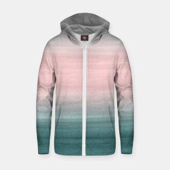Thumbnail image of Touching Teal Blush Gray Watercolor Abstract #1 #painting #decor #art  Reißverschluss kapuzenpullover, Live Heroes